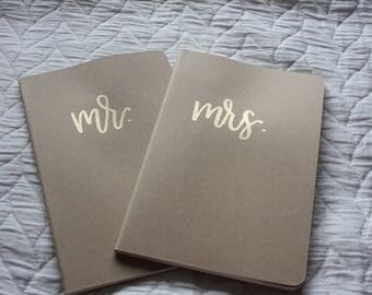 mr. & mrs. embossed notebook set