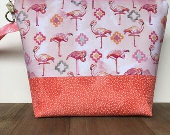 Knitting Project Bag, Zippered Project Bag, Shawl Knitting, Sweater Knitting, Wedge Bag MEDIUM in Flamingo Fabric