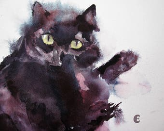 Black Cat/Cat Watercolour Original
