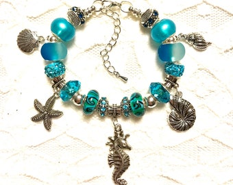 Beach Time, European Style Charm Bracelet