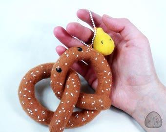 Novelty Pretzel Plush Charm, salt, pretzel, mustard, food plush, pretzel plush, unique gift, novelty gift, food plushie gift, phone charm