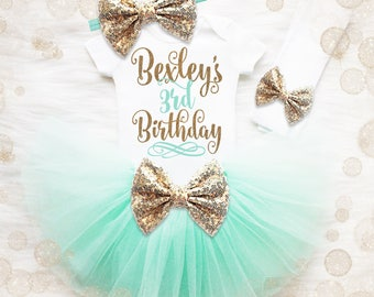 3rd Birthday Outfit Girl | Mint And Gold 3rd Birthday Tutu Set | 3rd Birthday Shirt | 3rd Birthday Outfit | Birthday Tutu Set
