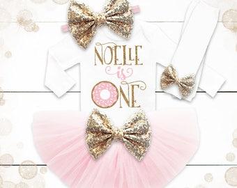 Donut 1st Birthday Outfit | Donut 1st Birthday Shirt | Donut One Shirt | Pink And Gold 1st Birthday Tutu Set | Baby Girl Shirt