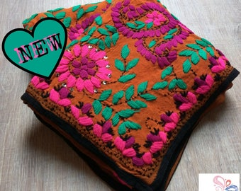 Handmade Soft Phulkari Spring Scarf Floral embroidery Super Georgette Orange Purple and Green mothers day gifts Ideas for her NEW on Etsy