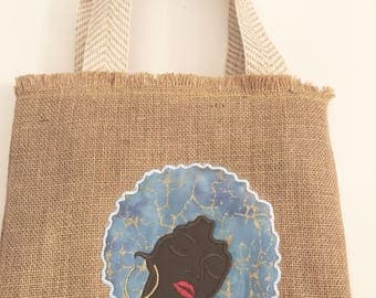 Woman with Afro- Blue Dahlia Ethnic design Tote Bag