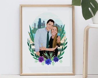 Couple Portrait, Couple Drawing, Couple Illustration, Custom Drawing, Personalized Gift, Custom illustration, Personalized