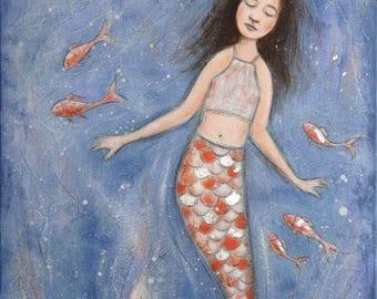 """painting """"The Little Mermaid"""" Mythology childhood sea"""