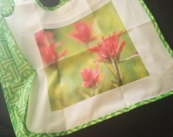 Machine washable reusable bag - Lightweight & Eco-friendly - Indian Paintbrush Photograph - READY TO SHIP - Wildflower Photo Wyoming