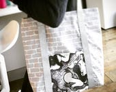 Graffiti Tote Bag Banksy Style Brick Wall Street Art Silver Glitter Spray Can Art Cotton Tote Bag for school Shoulder Bag