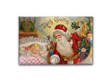 SALE Vintage Santa Christmas Magnet   Large Refrigerator magnet   Christmas Gift under 20   Kitchen Decor   Santa Decoration