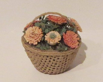 Miniature Basket of Flowers 1:12 scale