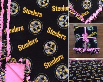 LARGE STEELERS NFL Handmade Fleece Tie Blanket   55x65   Pittsburgh Steelers Pink Blanket   Steelers Girls Blanket   Steelers Fleece Blanket
