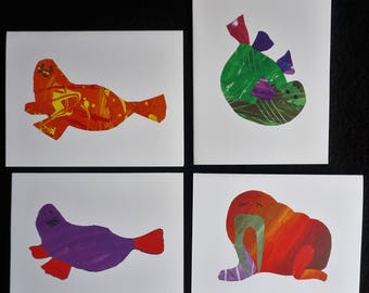 Alaskan Sea Animal Greeting Cards. Grumpy Walrus, Playful Seal. Set of 4 unique collage art cards. Elementary student fundraiser artwork