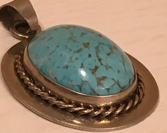 Mexico Silver Turquoise Pendant