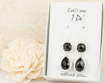 Long Black Silver Teardrop Earrings, Black Wedding Jewelry, Black Silver Earrings, Bridesmaid Earrings, Black Bridal Accessories