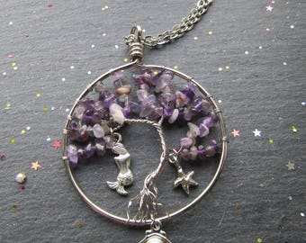 Coral Reef Necklace with Mermaid, Amethyst Necklace, Mermaid Necklace, Bohemian Necklace Tree of Life Jewellery,  Boho Necklace,