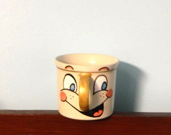 Hand Painted Cup Cheerful Face Cute Mug Coffee Mug Teacup Display Gift for Anyone Happy Smiling Face