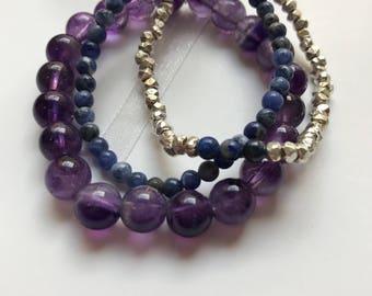 Amethyst Lapis Lazuli & Sodalite bracelet set