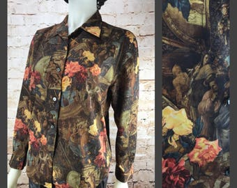 Vintage Boho Chic Polyester Renaissance Floral long sleeve Blouse - Womens button down shirt