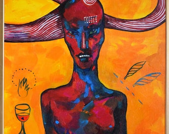 "ORIGINAL Large Acrylic Painting ""Heavy Load"" // Modern Female Portrait, Surrealist Red Demon Wall Decor, Conceptualist Golden Evil Wall Art"