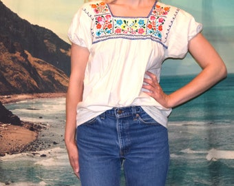 Vintage 70's  embroidered Mexican Huipil style tunic Sz S/M
