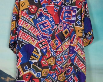 Vintage 80's abstract print silk button up sz M