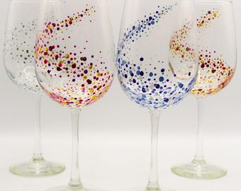 Set Of 4 Hand Painted Glasses Dots Space Picoquel Classic Wine Handpainted Glass Glassware