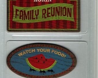 Family Reunion Outdoor Chipboard Signs Karen Foster Scrapbook Embellishments Cardmaking Crafts Paper Piecing
