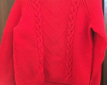 Cable Design Fisherman's Wool Sweater Women's Small Cropped Boxy Super Warm Sweater