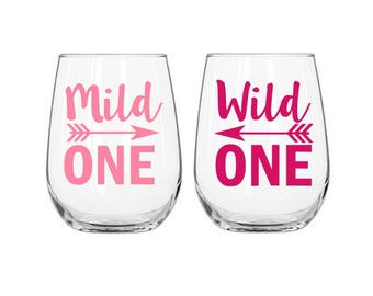 Wild One Decal, Mild One Decal, Best Friend Decals, Best Friend Gift, Gift for Besties, Sorority Sister Gift, Birthday Gift for Friend