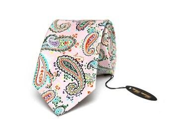 Bright Paisley Pink tie Wedding Tie Men's tie Necktie for Men 180tc