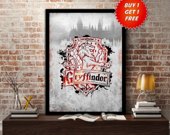 Gryffindor,House, Print, Poster, Fan Art, Harry Potter, Crest, Hogwarts, Lion,Birthday, Ravenclaw, Hufflepuff, Slytherin,Mothers Day