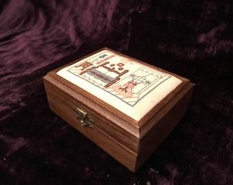 Vintage Cottage Chic Cross Stitch Pillow Top Trinket Box