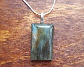 Labradorite silver necklace - gemstone necklace - birthstone necklace - gift necklace - birthday present - flashy labradorite - pendant - 35