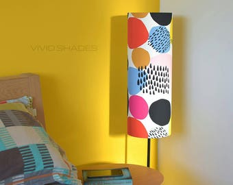 Tall lampshade with floor lamp base option, genuine Scandinavian fabric, handmade by vivid shades, funky circle rainbow shape pattern dots