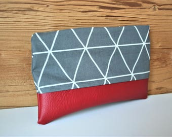 Cosmetic bag cosmetic bag with geometrical pattern in anthracite/white and Red leatherette,