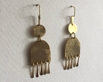 Hammered Disc and Arch Earrings with Fringe