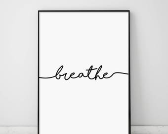 Fitness Print, Breathe Print, Yoga Print, Pilates Poster, Relaxation, Breathe Poster, Inspirational Poster, Modern, Minimalist Typography