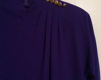 Vintage Jones New York Dress Size 6P Layered Sheath Purple Tunic Top Black Skirt