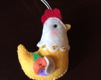 Handmade Felt Chicken Ornament