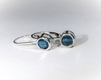 London Blue Topaz Sterling Silver Leverback Earrings