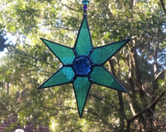 Stained Glass Aqua Blue Beaded Hanging Star