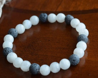 Natural Moonstone and Lava Stone Aromatherapy Bracelet~ Aromatherapy Jewelry~ Metaphysical Healing