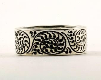 Vintage Floral Design Band Ring 925 Sterling Silver RG 1411-E