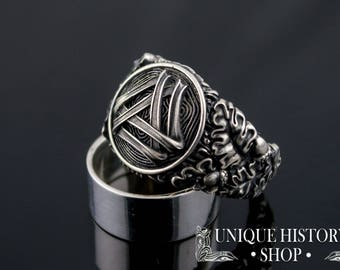 Valknut Ring with Oak Leaves and Acorns - Unique Handcrafted Viking Jewelry