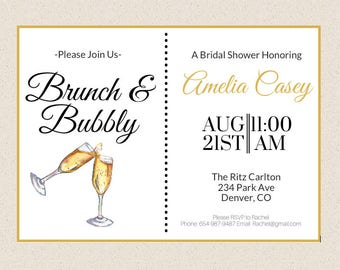 Brunch and Bubbly Bridal Shower Invitation, Bridal Shower Invite, Brunch & Bubbly, Digital or Printed