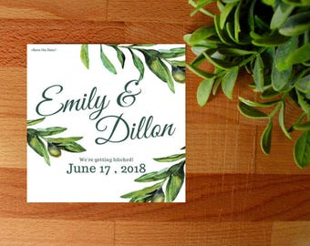 Greenery Save The Date Invitations, Digital or Printed, Engaged Invite, Wedding Invite, Palm Trees, Wedding, Custom