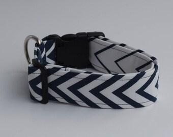Navy Blue Chevron Dog Collar