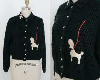 Vintage 1950s Poodle Cardigan - Navy Blue - Collar - Rhinestone Button Up - Long Sleeve - Women's Medium / Large