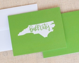 Green Bull City Folded Cards and Envelopes - NC Stationery -  Durham, NC Note Cards - Bull City Stationery - Hostess Gift - State Stationery